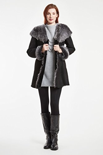 Blue Duck Shearling Fitted Coat with Hood and Toscana Trim