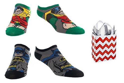 Batman & Robin Character Adult No Show Ankle Socks 2-pair & Bag - 3 Piece Set (Batman And Robin Shoes)