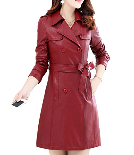 S&S-Women Fashion Slim Lapel Double Breasted Belt Faux Leather Long Trench (Design Ladies Leather Trench Coat)