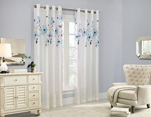 Eden Floral Faux Silk Grommet Curtain 52W x 84L, Mist