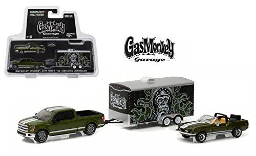 NEW 1:64 GREENLIGHT HOLLYWOOD HITCH & TOW SERIES 1 COLLECTION - GREEN GAS MONKEY GARAGE 1968 SHELBY GT500KR, 2015 FORD F-150 & ENCLOSED CAR HAULER Truck Diecast Model Car By Greenlight (Series 1 Collection)