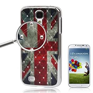 British Flag Pattern Luxury Bling Diamond Encrusted Plating Skinning Case Cover Carcasa Para Samsung Galaxy S4 i9500 /