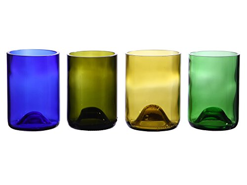Oenophilia Recycled Glass Wine Bottle Tumblers, Assorted Colors - Set of 4 ()