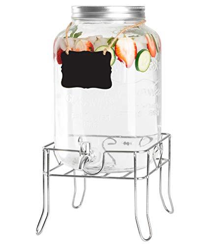 (Outdoor Glass Beverage Dispenser with Sturdy Metal Base & Hanging Chalkboard - 2 Gallon Drink Dispenser for Lemonade, Tea, Cold Water &)