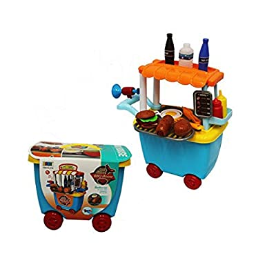 P&F Pretend Play Hot Dog Burger BBQ Stand Carrying Case Set with Food Accessories: Toys & Games