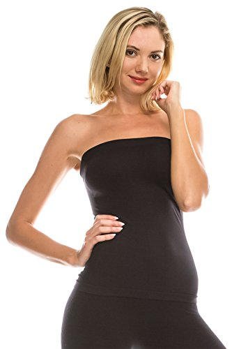 - Kurve Women's Seamless Stretch Long Bandeau Tube Top (XS/S, M/L, L/XL, XL/XXL) -Made in USA- Black