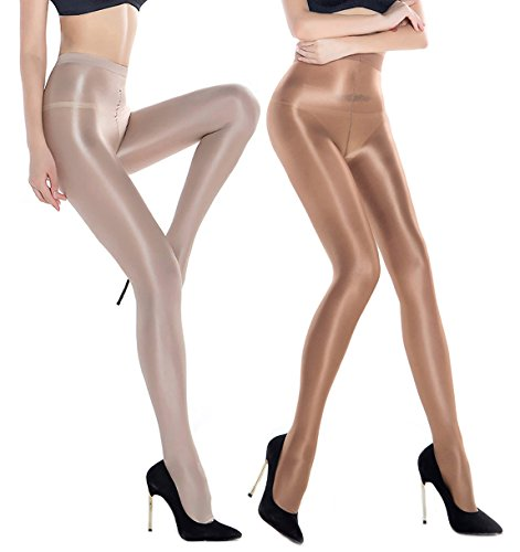 cadac70ab 2 Pairs Shaping Socks Oil Socks Shiny Silk Stockings Pantyhose Dance Tights  (Champagne and Nude