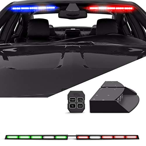 SmallfatW 32 Inch 28 LED Windshield Emergency Warning Traffic Advisor Flash Strobe Light Bar with Cigar Lighter and Suction Cups Fit for Police Snow Plow Truck Red//Blue Law Enforcement Vehicle