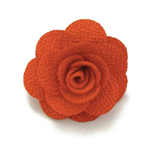 Sunny Home Men's Lapel Flower Handmade Boutonniere Pin for Suit (Orange) ()