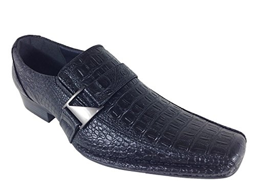 Alberto Fellini Men's Dress Loafers Elastic Slip on with Buckle Fashion Shoes Runs Half Size Big(Toni) (12