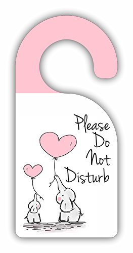 Please Do Not Disturb - Childrens Room/Baby Nursery - Door Sign Hanger - Hardboard - Glossy Finish by Jacks Outlet