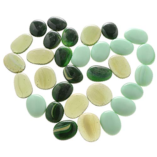 Florist Table Top - DYNWAVE 100Pcs Glass Stone Clear Marbles Fish Tank Pebbles Flat Bottom Round Top Features Florist Supplies Emerald Green