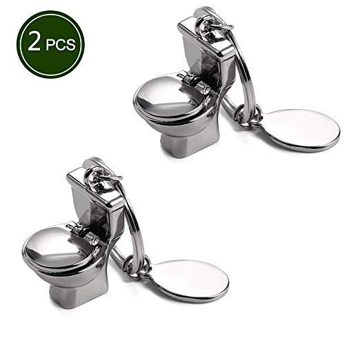 Metal Toilet Novelty Keychain Cool Car Ring Handbag Pendant Decoration Kid Creative Gift Silver - Pack of 2