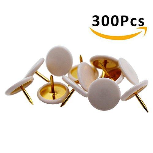 HENREK Push Pins, 3/8-Inch Plastic Round Head, 5/16-Inch Steel Point Thumb Tacks, 300/Box (White)