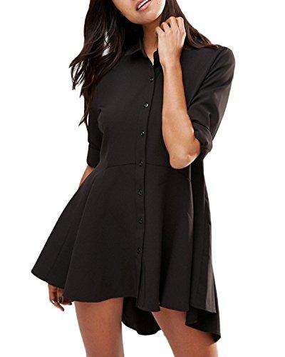 ZANZE Mini Vestidos Camisas Solapas Mujer Manga Larga Faldas Cintura Alta Botones negro