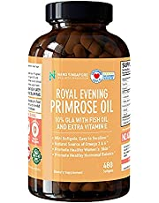 Royal Evening Primrose Oil extra Vitamin E (1000mg) - 10% GLA w/Fish Oil Vitamin E, Omega 3 & 6, Easy to Swallow (480 mini Softgels)