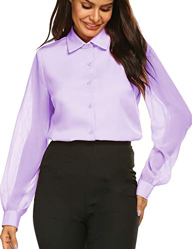 Womens Bow Tie Neck Short Sleeve Casual Office Work Chiffon Blouse Shirts Tops S-XXL Purple