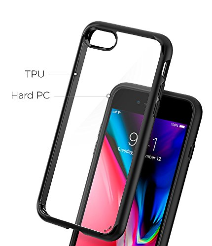 Spigen Ultra Hybrid [2nd Generation] iPhone 7 Case / iPhone 8 Case with Clear Air Cushion Technology for Apple iPhone 7 (2016) / iPhone 8 (2017) - Black