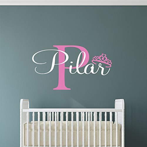Custom Name Princess Nursery Wall Decal - Girls Personalized Name Princess Wall Sticker - Custom Name Sign - Custom Name Stencil Monogram - Baby Girl Nursery Room Wall Decor