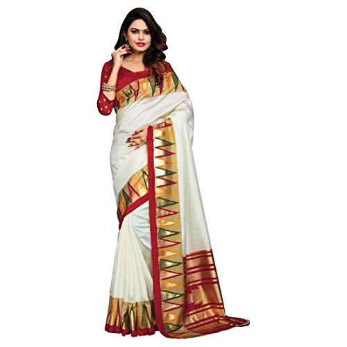 Craftsvilla Silk Saree for Women Saree Blouse Readymade Free Size White