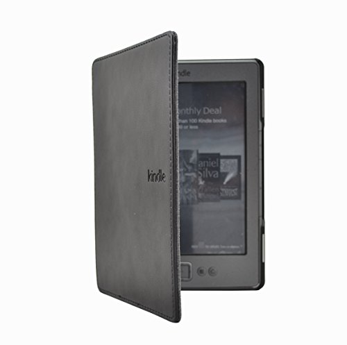 Huasiru PU Leather Case Cover for Amazon Kindle 4 & Kindle 5 Generation (Button Version) Only, Black