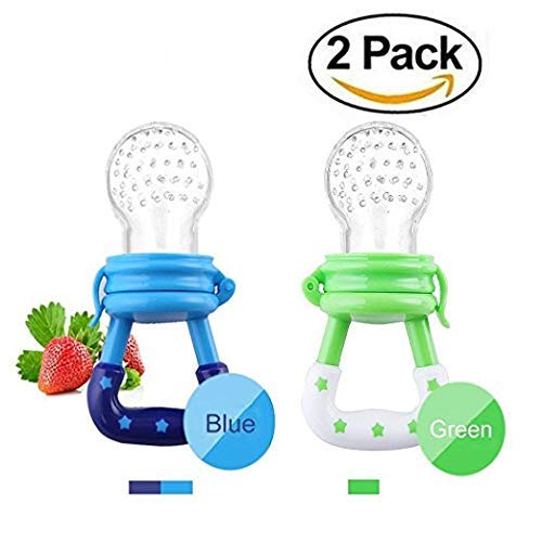 Baby Fresh Food Feeder Silicone Feeder Silicone Teether Feeder Pacifier Toy with Handgrip for Boys and Girls 2 PCS (6-12 Months, Blue,Green)
