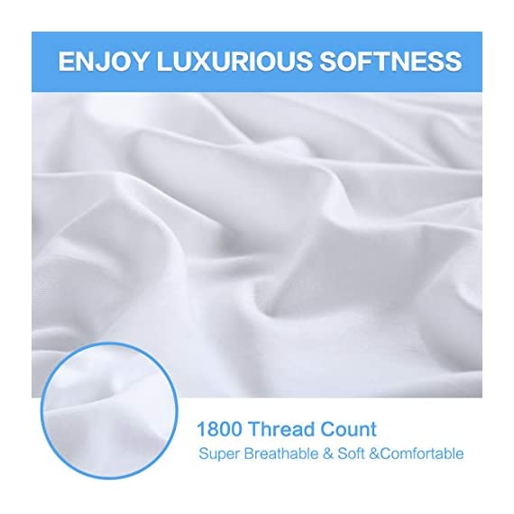 """KARRISM Queen Size 6 Piece Bed Sheets Set Extra Soft & Breathable Brushed 1800 Series Microfiber, Cooling, Wrinkle & Fade Resistant, Comfortable Deep Pocket Bedding Set, White - ►►►【NEW 1800TC MATERIALS】Designed with simple sophistication, combined with BST Brushed Microfiber, the new 1800 High Thread Count materials are even thinner than most luxurious natural fibers such as silk. This makes the bedding more softer, breathable, comfortable that keep you warm during winter and cool during summer. Light touching feeling , DEFINTLY breathable cool and exceptional strength, gives you and your family the BSBEST Sleep environment all night. ►►►【CUSTOMER CENTERED DESIGN】Compared to the normal 4-piece bed sheet set, our 6 Piece Sheet set includes 1 flat sheet 90""""x102"""", 1 fitted sheet 60""""x80"""", and 4 pillowcases 20""""x30"""". Considering that our customer may have needs on regularly cleaning old pillowcase or readying for the guest room,we added two extra pillowcases for your money SAVING. No worry of alternative pillowcase being not available again. ►►►【FITTED SHEET STYLE】Easily stretch up to 13-16inch. With Exquisite deep pocket design, stretch skirt has a thick, 130GSM full-length elastic pulls the corners snugly for a smooth fit on most mattress types, the sheet will keep neat all the time, will not change the position of mattress. - sheet-sets, bedroom-sheets-comforters, bedroom - 41wSjlc6ajL. SS570  -"""