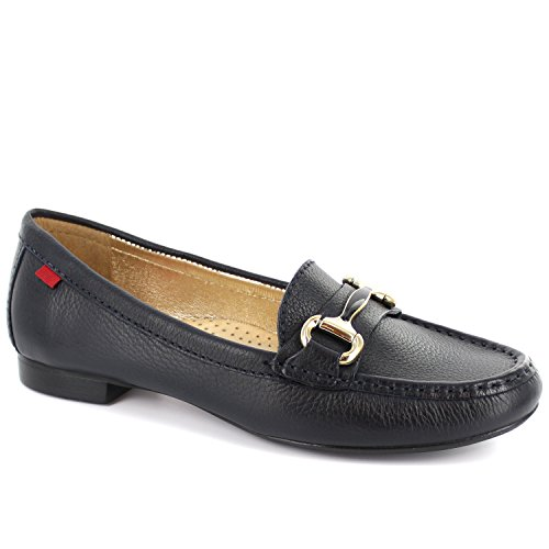 Frauen Echtes Leder Made In Brasilien Grand Street Schnalle Loafer Marc Joseph NY Mode Schuhe Navy Körnig