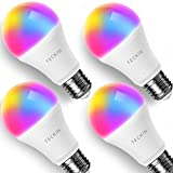 TECKIN Smart LED Bulb WiFi E26 with Soft Light Works with Alexa, Google Home, Dimmable Multicolor, A19 60W Equivalent RGB Color Changing Bulb (7.5W), with Schedule Function(4 Pack)