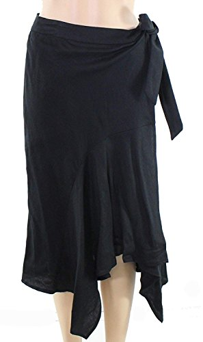 Context Women's Asymmetrical Linen Tied Skirt Black XS