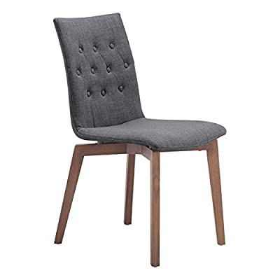 Zuo Modern Orebro Dining Chair, Graphite, (Set of 2) - Solid blend of fashion and function Perfect around a square dining table or in the corner of a living room Polyblend and Solid Wood materials - kitchen-dining-room-furniture, kitchen-dining-room, kitchen-dining-room-chairs - 41wSjxhtFjL. SS400  -