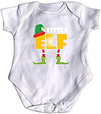 Christmas Elf Little Funny Baby Infants Babygrow Romper Jumpsuit