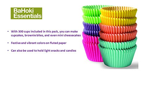 BaHoki Essentials 300 Piece Rainbow Colored Paper Baking Cups - Cupcake and Muffin Liners