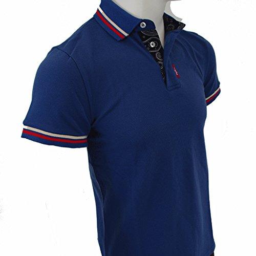 Mod Polo-Shirt mit Paisley-Funktion, Blau