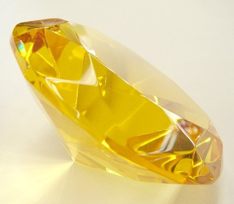Yellow Topaz Crystal Paperweight-#80 with stand ()