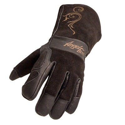 AngelFire Stick/MIG Welding Gloves - Black with Beige Flourish, Size Small by Revco Industries