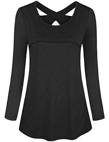 Plus Size Workout Clothes for Women,Cucuchy Athletic Shirts Loose Fit Athleisure Yoga Tops Casual Long Sleeve Fall Exercise Tee Breathable Comfy Traning Outfit Flowy Tunic Black 2XL