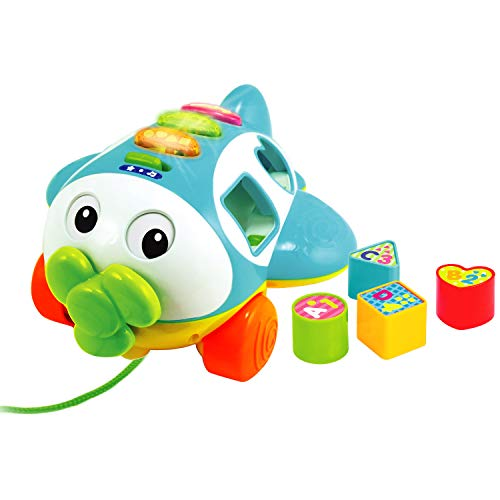 Musical Shape Sorter Plane, Pull-Along Toy - Talking and Singing Airplane Toy with Music for Toddlers and Kids, Ages 12 to 48 Months
