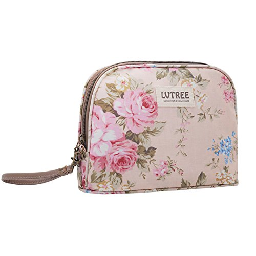 Lvtree Cosmetic Bag Makeup Case Toiletry Bag, Portable Small Handy Waterproof Travel Hanging Organizer Train Case Pencil Pen Multifunction Purse for Women Girls Countryside Flower Floral, Pink