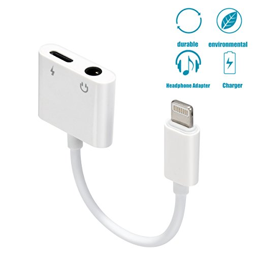 Price comparison product image RayCue Lightning Adapter, Lightning Splitter Adapter & 3.5mm Headphone Jack, 2 in 1 Lightning Headphone Audio & Charge Adapter for iPhone 8/8 Plus/X/7/7 Plus, Support Non Original Headset(white)