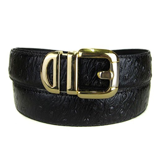 BLTBY-OST-5-24 - Black - Boys Ostrich Skin Bonded Leather Belt