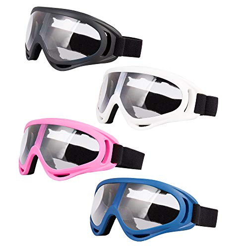 LJDJ Motorcycle Goggles- Glasses Set of 4 Dirt Bike ATV Motocross Adjustable UV 400 Protective Outdoor Sports Tactical Dust-Proof Combat Military Glasses for Kids, Boys, Girls, Youth, Men, Women