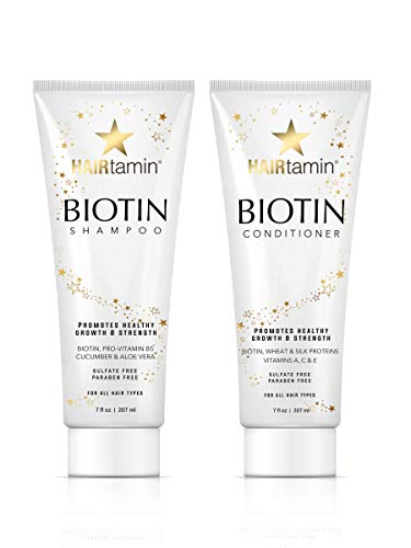 Hairtamin Hair Growth Shampoo and Conditioner Set - Paraben & Sulfate Free, Volumizing & Moisturizing, Best Natural Shampoos and Conditioners, Gentle Moisturizer on Curly & Color Treated (Best Moisturizing Shampoo Conditioner)