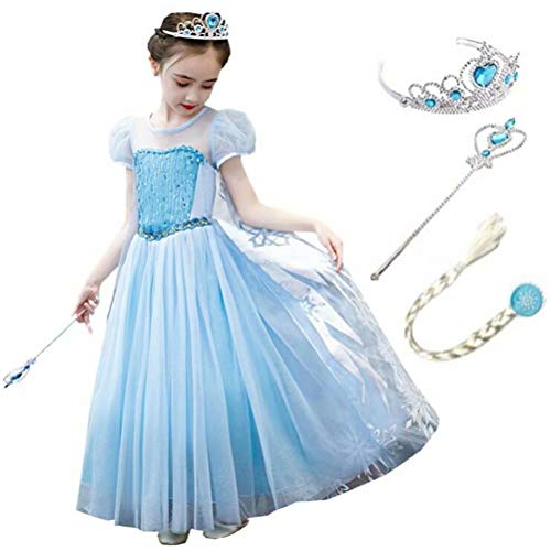Tsyllyp Girls Princess Elsa Costume Snowflake Inspired Dress up for Chrismtas Halloween Cosplay]()