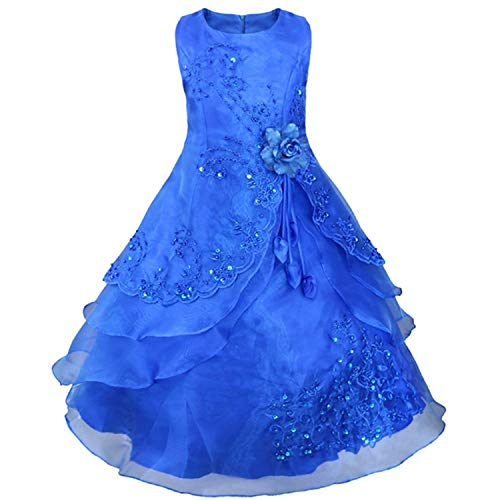SmarketL High end Girl Dress Girls Embroidered Flower Formal Princess Party Gown Children Prom Wedding,Child10,DarkBlue, ()