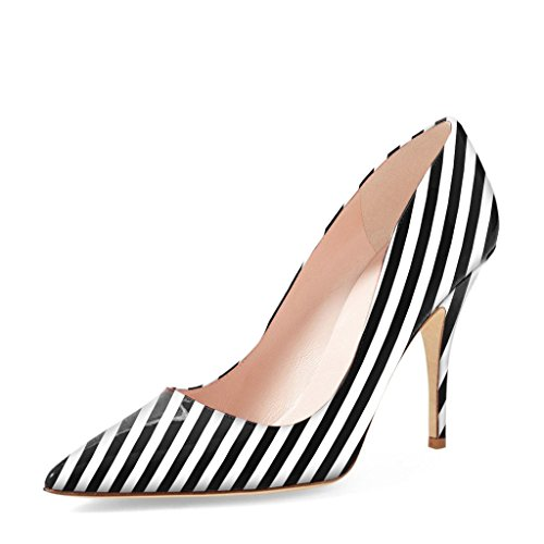 YDN Women Classic Pointy Toe Low Heel Pumps Slip on Black and White Stripe Shoes 14 (Black -