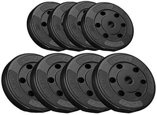 Aurion 30 Kg Weight Plate disc Vinyl Standard Weights Plates Set for Weight Lifting Dumbbell Bars Strength Training Home Gym Fitness Workout