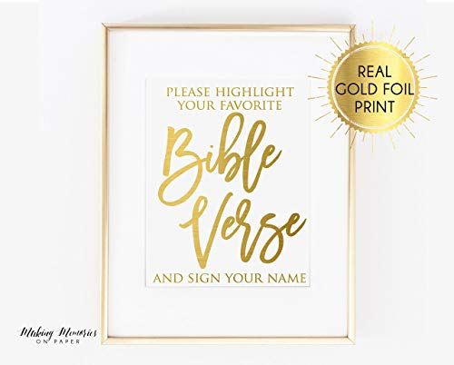 Real foil print, Highlight your favorite bible verse, wedding bible, wedding signs, gold foil, actual gold foil,Printed,real foil, wedding sign, actual foil,Printed,real foil, Rose gold