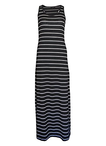 MonsterCloset Racerback Yarn Dye Striped Maxi Dress, Black/White, Medium