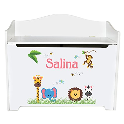Personalized Jungle Animals Girl White Book Caddy and Rack by MyBambino